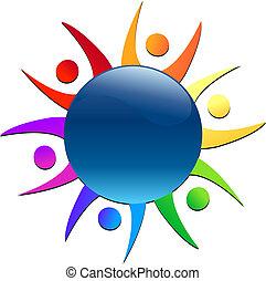 Teamwork rund um das Welt-Logo