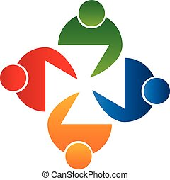 Teamwork trifft Leute Logo-Vektor.