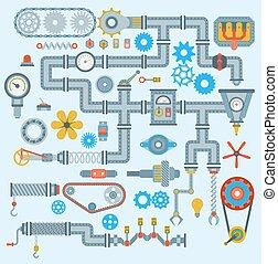 technik, technologie, mechanismus, vektor, design., industriebereiche, teil, ausrüstung, engine., robotic, automatisch, zubehörteil, arbeit, technisch, mechaniker, herstellung ausrüstung, fabrik, heiligenbilder, satz, mechanisch, werkzeug, maschinerie
