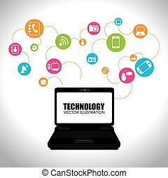 Technologie-Design über weiße Hintergrund-Vektorgrafik.