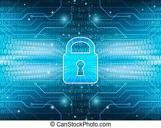 Technologisches Brett und sperren den globalen Sicherheitsdienst abstrakter, blauer Vektor Hintergrund.