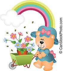 Teddybär im Garten