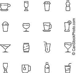 tee, getrãnke, bohnenkaffee, icon., heiß, tassen, brille, wasser, kalte , vektor, symbole