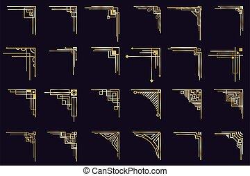 teiler, antikes , elegant, satz, ränder, deco, heiligenbilder, freigestellt, gold, weinlese, kunst, geometrisch, goldenes, ecken, dekorativ, arabisches , corners.