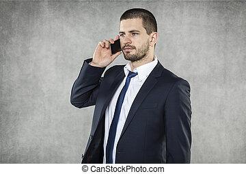 telefon, sprechende , ernst, geschäftsmann