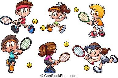 tennis, spielende , kinder