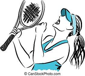 Tennisspieler 3 Illustration.