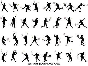Tennisspieler spielen Silhouette