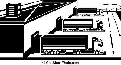 terminal, ladung, lastwagen