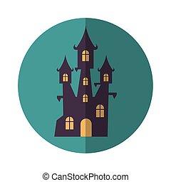terrorisiert, villa, halloween, gebäude, dunkel