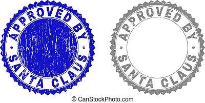 Texted APPROVED by SANTA CLAUS kratzte Briefmarken