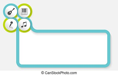 Textrahmen für Ihren Text mit Musiksymbolen.
