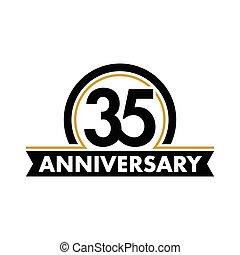 thirty-fifth, vektor, geburstag, ungewöhnlich, 35th, symbol., jubilee., circle., jubiläum, bogen, logo., 35, label., abstrakt, jahre