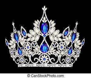 Tiara-Kronen-Frauenhochzeit mit einem blauen Stein