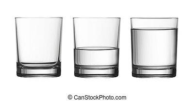 Tief leer, halb und voll mit Wasserglas, isoliert auf weißem, mit Ausschnitt