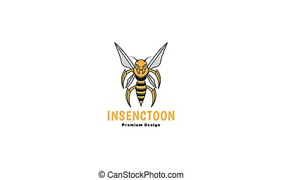 tier, ikone, insekt, biene, grafik, abbildung, bunte, reizend, karikatur, logo, starke , design, vektor, symbol