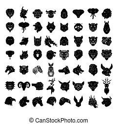 Tier-Kopf-Tattoo groß Set Sammler.