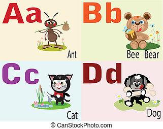 Tierbuchstaben A, B, C, D.