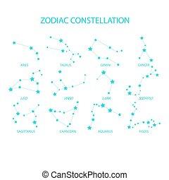 tierkreis, vektor, satz, constellations., freehand, signs.