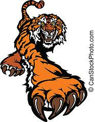 Tiger-Maskottchen-Körper streift Grafik