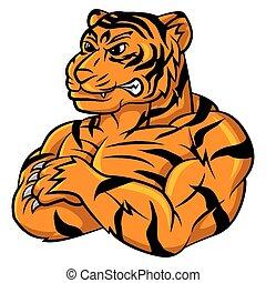 Tiger starkes Maskottchen.