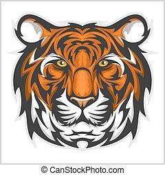 Tigergesicht. Vector Illustration eines Tigerkopfes.