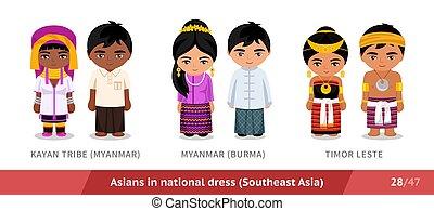 timor, kayan, stamm, national, leste., dress., myanmar, maenner, birma, frauen