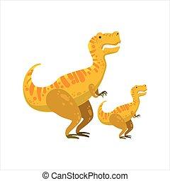 Tirannosaurus rex Dinosaurier vorgeschichtlich Monster Paar ähnliche Exemplare große und kleine Zeichentrick-Vektor-Darstellung