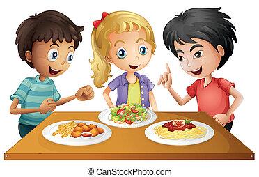 tisch, essen, kinder, aufpassen