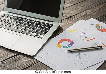 tisch, laptop, finanziell, tabellen