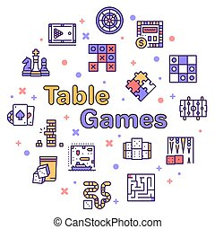 tisch, runder , linie, farbe, spiele, satz, ikone, vektor