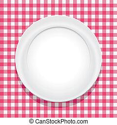 tischtuch, leerer , vektor, platte