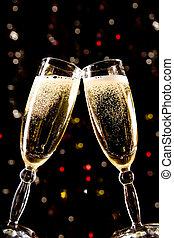 toast, machen, champagner, zwei, brille