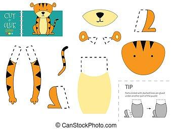 toy., papier, modell, vektor, lustiges, freisteller, tiger, zeichen, klebstoff, schnitt, pappe