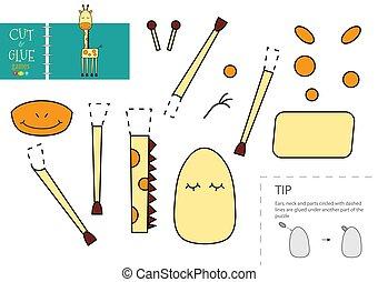 toy., papier, modell, vektor, lustiges, freisteller, zeichen, klebstoff, schnitt, pappe, giraffe