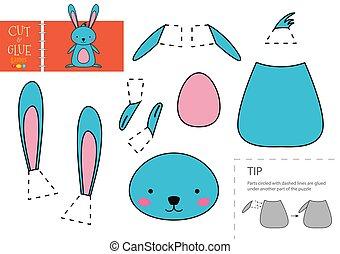 toy., papier, modell, vektor, lustiges, freisteller, zeichen, klebstoff, schnitt, pappe, kanninchen