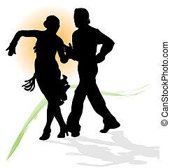trace., latein, silhouette, tanzen, sonne, paar, vektor, grün, orange