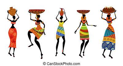traditionelle , afrikanisch, kleiden, frauen