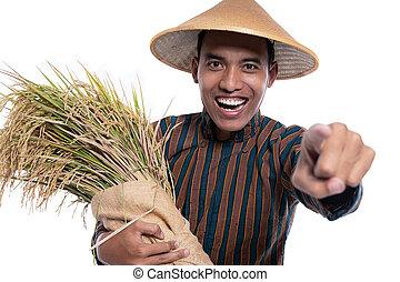 traditionelle , finger, seine, fotoapperat, zeigen, während, landwirt, tragen, tuch
