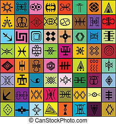 traditionelle , verschieden, elemente, mosaik