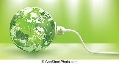 tragbar, vektor, energie, grün, begriff