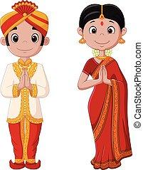 tragen, paar, traditionelle , indisches kostüm, karikatur
