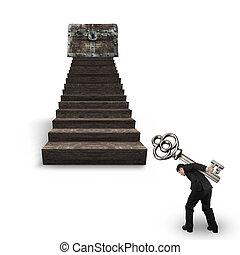 tragen, schatztruhe, holz, schlüssel, gegen, treppe, mann