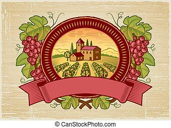 Traubenernte-Etikett