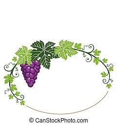 Traubenrahmen mit Blättern auf Weiß