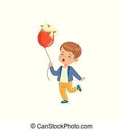 Trauriger Junge mit platzenden Ballon-Vektor Illustration auf einem weißen Hintergrund.