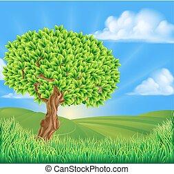 Tree rollende Hügellandschaft Hintergrund.