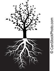 Tree Silhouette mit Wurzeln