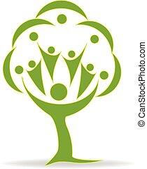 Tree teamwork people logo.