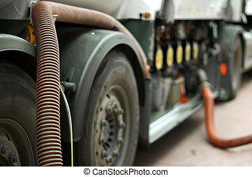 Treibstofftransporter schließen